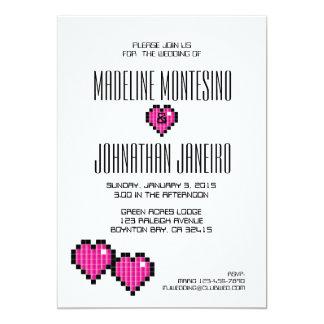 Videospiel-Hochzeits-Einladung ROSA-PIXEL 12,7 X 17,8 Cm Einladungskarte