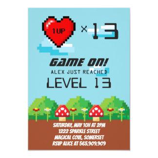 Videospiel-Pixel-Geburtstags-Einladungen Karte