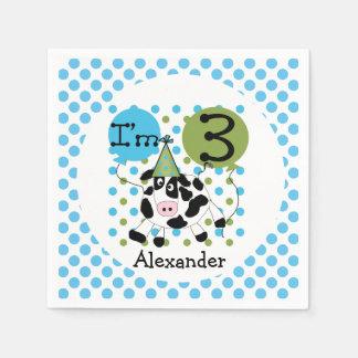 Vieh-blauer Kuh-3. Geburtstags-Papierservietten Servietten