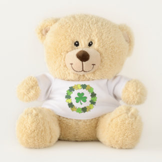 Viel Glück-glücklichen grünen Kleeblatt-St Patrick Teddybär