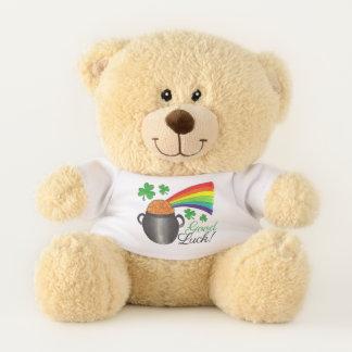 Viel Glück-grüner Kleeblatt-Topf des Teddybär