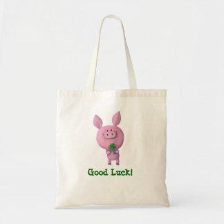 Viel Glück-Schwein Budget Stoffbeutel