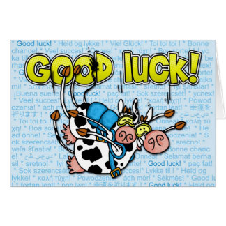 viel Glück - skydive Tandem der Kühe Grußkarte
