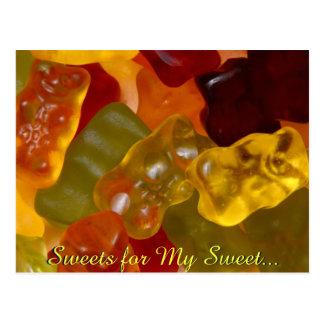 Viel mehrfarbiges Gummibärchen Postkarte