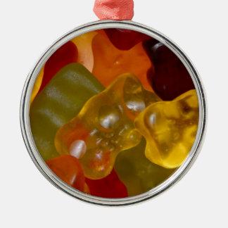 Viele bunte Gummibärchen Silbernes Ornament