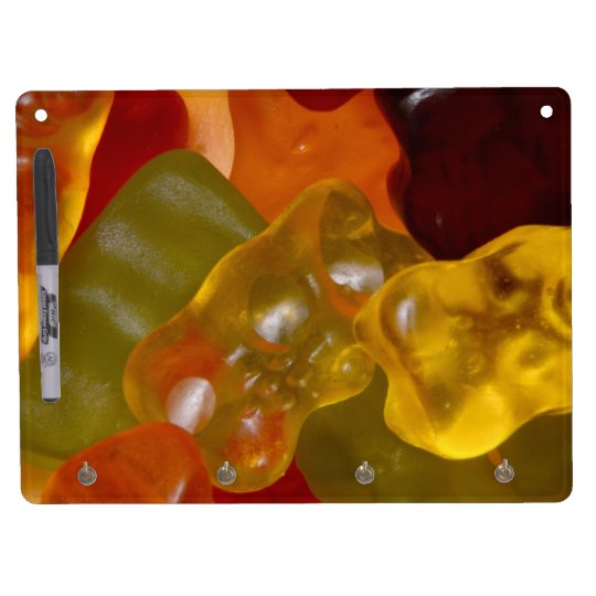 Viele bunte Gummibärchen Trockenlöschtafel Mit Schlüsselanhängern