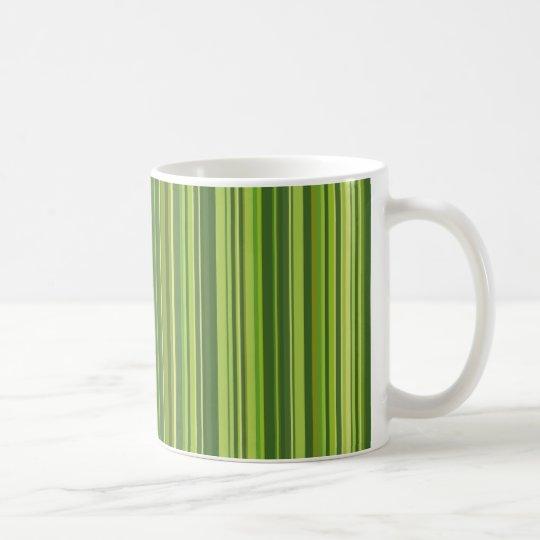 Viele bunte Streifen im grünen Muster Kaffeetasse