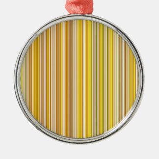 Viele bunte Streifen im orange Muster Rundes Silberfarbenes Ornament