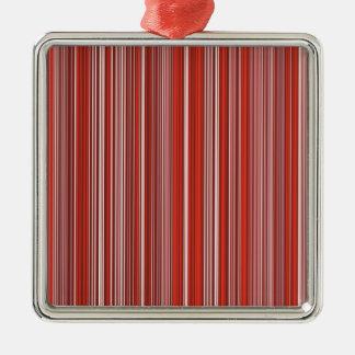 Viele bunte Streifen im roten Muster Quadratisches Silberfarbenes Ornament