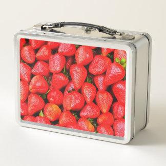 Viele Erdbeeren! Metall Brotdose