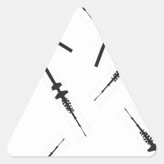 Viele kleine Hamburger Fernsehtürme Dreiecks-Aufkleber