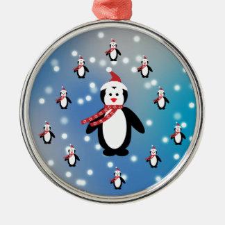 Viele Pinguine Rundes Silberfarbenes Ornament