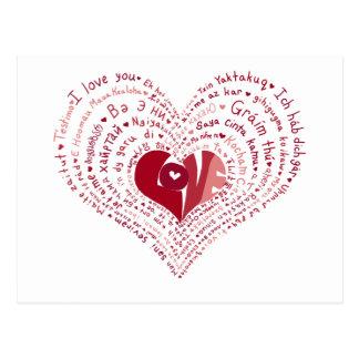 Viele Sprachen der Liebe-Postkarte