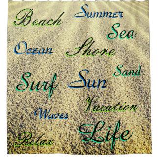 Viele Templated Wörter über Strand-Sand Duschvorhang