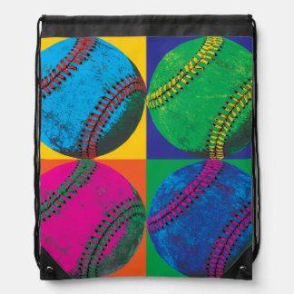 Vier Baseball in den verschiedenen Farben Turnbeutel