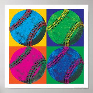 Vier Baseball in den verschiedenen Farben Poster