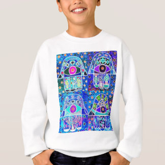 Vier Blau Hamsa Vintage Tapastry Judaika Sweatshirt