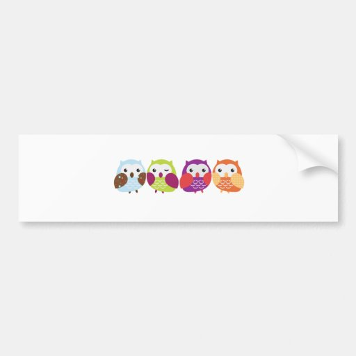 Vier bunte Eulen Auto Sticker