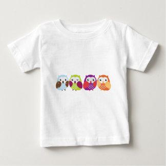 Vier bunte Eulen Baby T-shirt