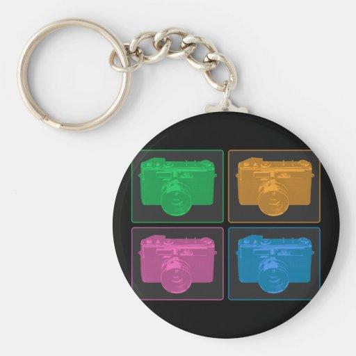 Vier bunte Retro Kameras Schlüsselband  Zazzle