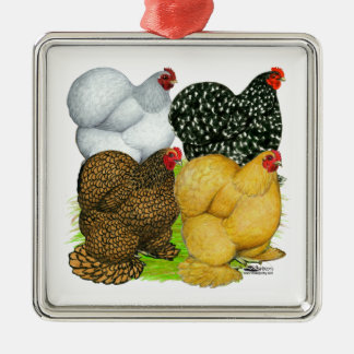 Vier Cochin-Hennen Silbernes Ornament