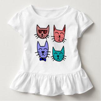 Vier cooles Katzen-Kleinkind-Rüsche-T-Stück Kleinkind T-shirt