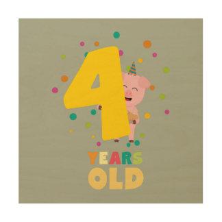 Vier des alten vierten Geburtstags-Jahre Holzdruck