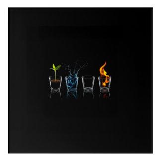 Vier Elemente Acryl Wandkunst