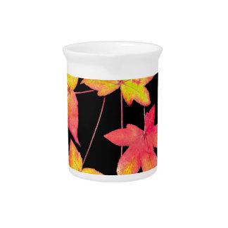 Vier farbiges Herbst-Blätter auf schwarzem Krug