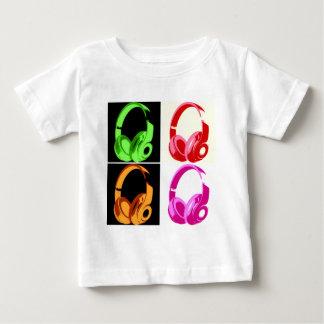 Vier Farbkopfhörer-Pop-Kunst-Kopf-Telefon Baby T-shirt