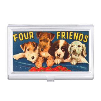 Vier Freund-Vintage Gemüseanzeigen-Hunde Visitenkarten-Halter