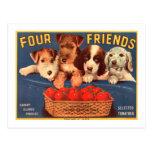 Vier Freund-Vintage Tomate-Kisten-Aufkleber-Hunde