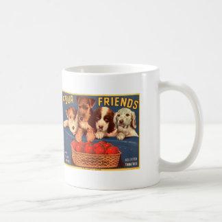 Vier Freund-Vintage Tomate-Kisten-Aufkleber-Hunde Kaffeetasse