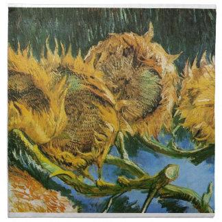 Vier geschnittene Sonnenblumen, Vincent van Gogh Stoffserviette