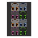 Vier grafische Kopfhörer Grußkarte