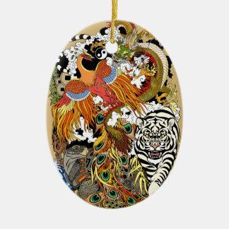 vier himmlische Tiere Keramik Ornament