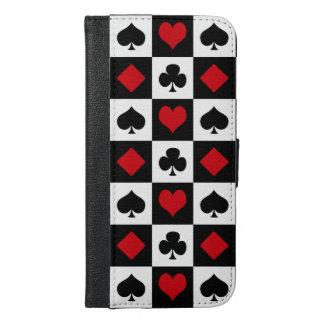 Vier Karten-Anzüge iPhone 6/6s Plus Geldbeutel Hülle