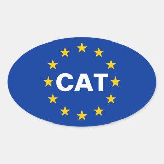 "VIER Katalonien ""CAT"" europäische Ovaler Aufkleber"