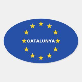 "VIER Katalonien ""Catalunya"" europäische Ovaler Aufkleber"