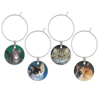 Vier Kätzchen-und Katzen-Gesichter Weinglas Anhänger