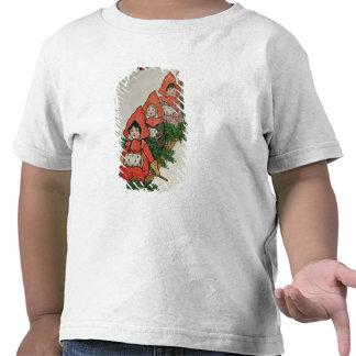 Vier kleine Mädchen auf einem Schlitten T Shirts