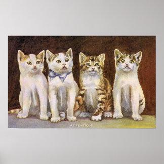 Vier niedliche Kätzchen-Vintage Illustration Poster