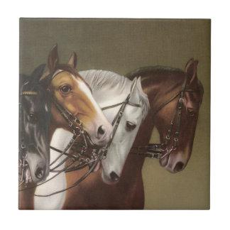 Vier PferdeVintage Kunst-Eigenschafts-Fliese Kleine Quadratische Fliese