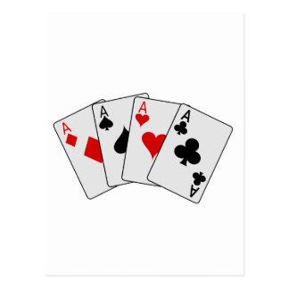 Vier Poker-Spielkarten der As-(vier einer Art) Postkarte
