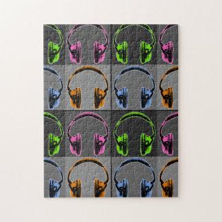 Vier Pop-Kunst-Kopfhörer Puzzle