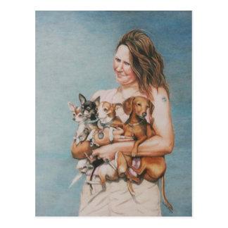 Vier Rettungs-Hundekunst-Postkarte
