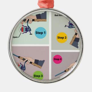 Vier Schritte, zum der spinnenden Stange mit Rundes Silberfarbenes Ornament