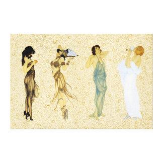 Vier Vintage Retro Damen-Blumenkunst Nouveau Art Leinwanddruck
