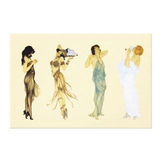 Vier Vintage Retro Damen-Kunst Nouveau Art Leinwanddruck