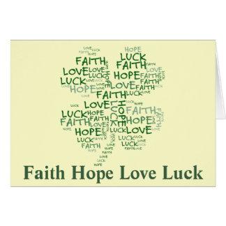 Vierblättriges Kleeblatt bedeutend: Hoffnung, Karte